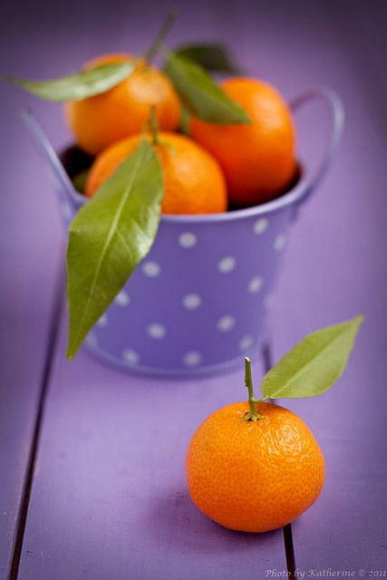 Fabulous pop of hues at work in this fun shot of Christmastime Tangerines. #oranges #tangerines #Christmas #food #fruit #purple