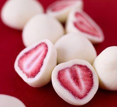 Clever idea... Strawberries dipped in vanilla Greek yogurt and frozen.