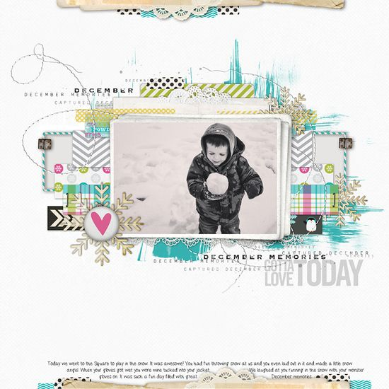 awesome layering in this #winter #scrapbook page from Lisa at DesignerDigitals.com!