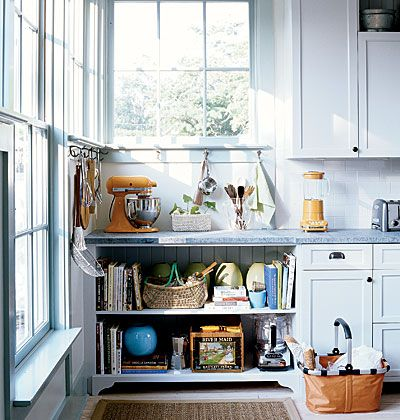 Space for Cookbooks and appliances.