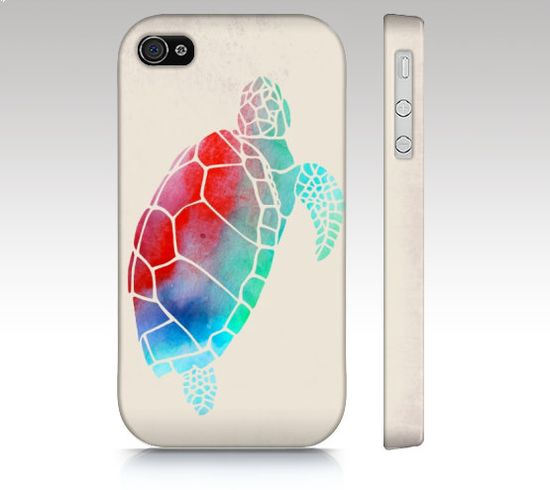 iPhone 4s case, iPhone 4 case, iPhone 5 case, watercolor turtle, colorful watercolor painting, animal art for your phone on Etsy, $36.00