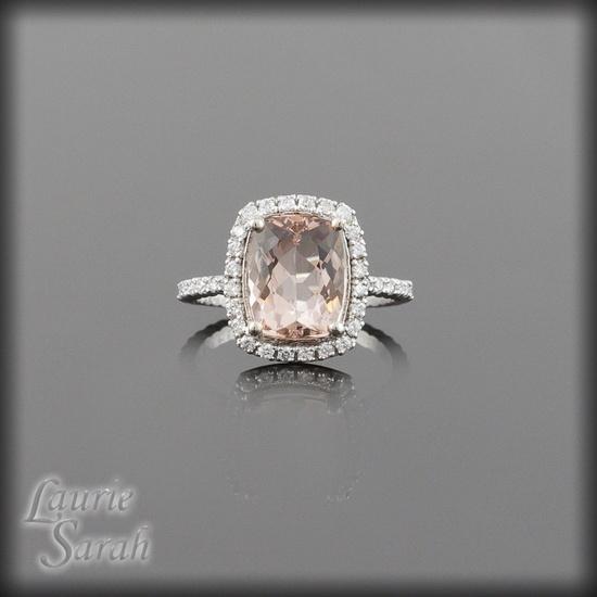 Cushion Cut Light Pink Morganite and Diamond Engagement Ring - LS2110. via Etsy.