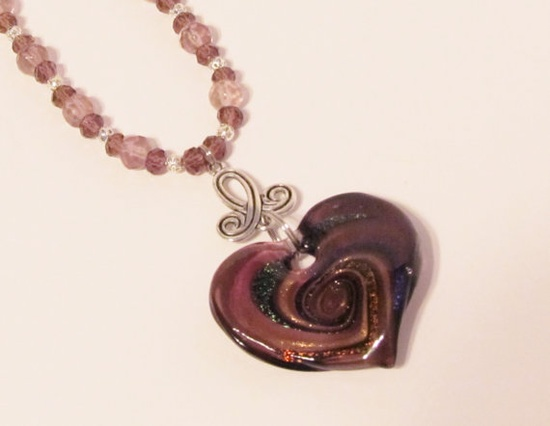 Glass #Purple #Heart #Pendant on Necklace of Faceted Glass and Crystals by #RomanticThoughts