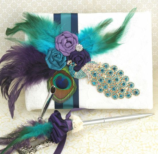 Wedding Guest Book and Pen Set in Peacock, Purple, Teal and Ivory with Crystal Jewels, Feathers and Lace