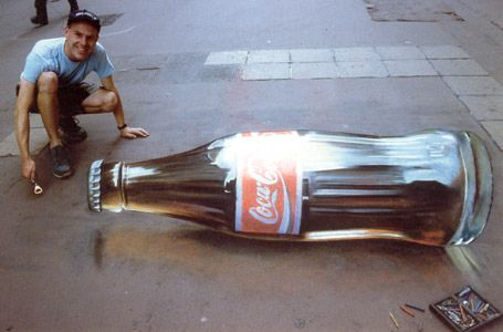 3D Chalk Art - Coke Bottle    A very simple 3D Chalk Art piece, but none the less very clear and amazing. Unbelievable!