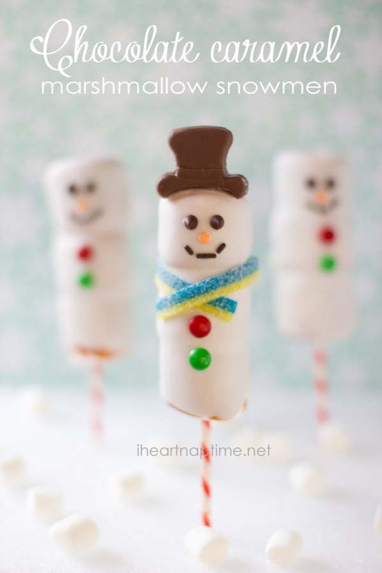 Chocolate caramel marshmallow snowmen on iheartnaptime.net ...super easy to make and they are delicious! #Christmas