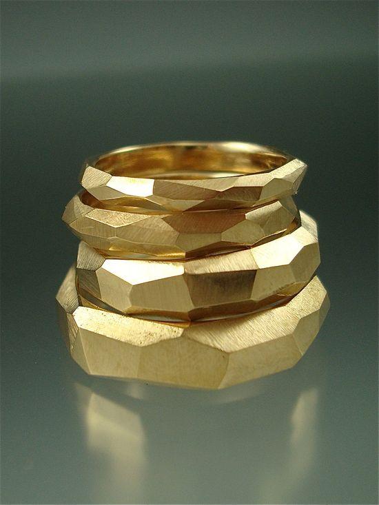14k gold Chiseled Ring Set. Danielle Miller via Etsy.