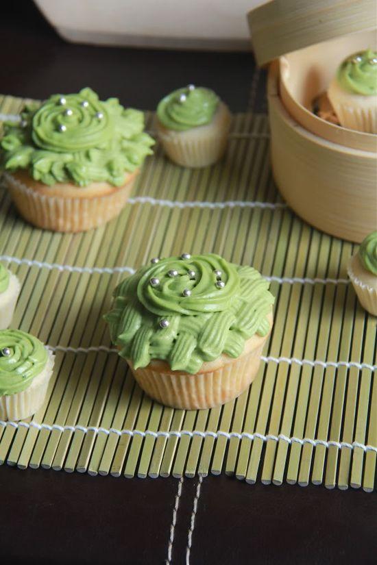 almond green tea cupcakes