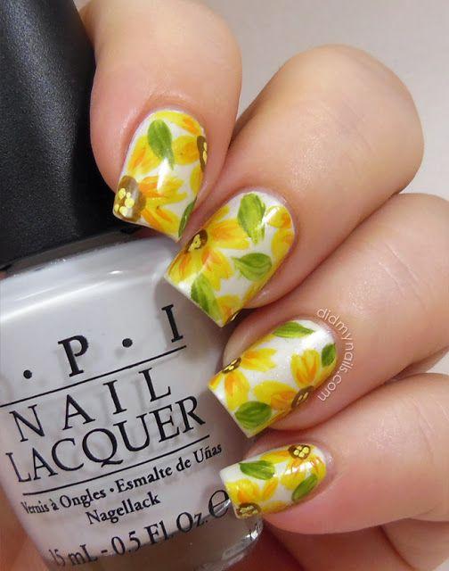 Amazing yellow flower nail art!