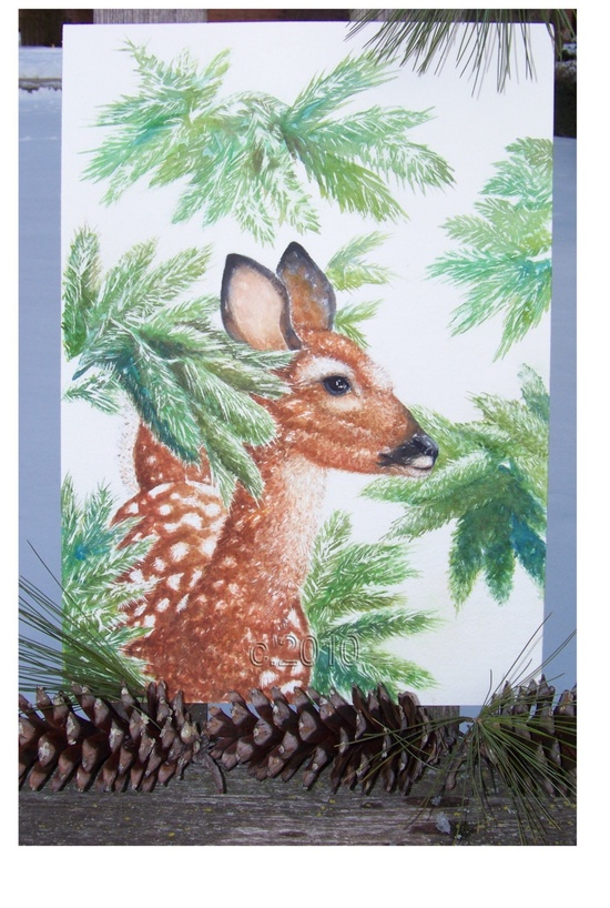 Little Deer Original Watercolor Painting