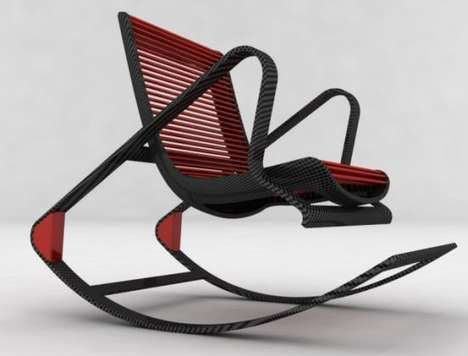 The Fotel Chair by Peter Vardai has a carbon fiber frame and converts from an armchair to a rocker.