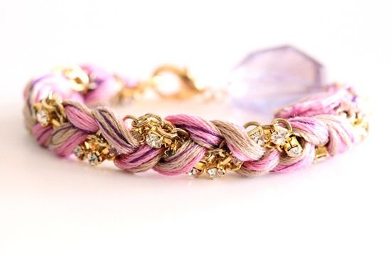 Thread & rhinestone bracelet