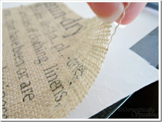 run burlap through your printer... then put in a cute frame! love it!