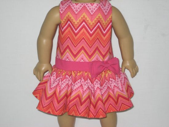 American Girl Doll Clothes - Shades of Pink Chevron Dress