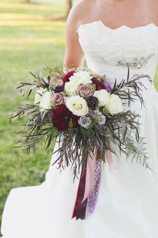 plum and white wedding bouquet  www.weddingchicks...