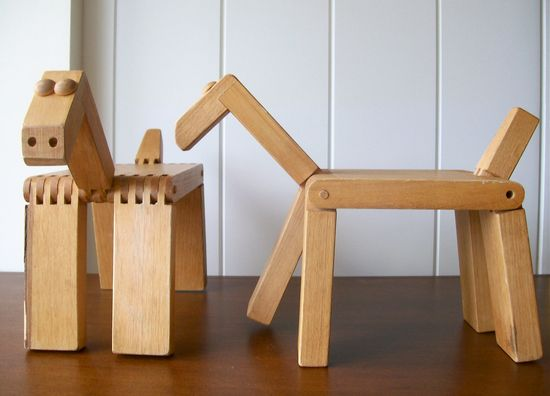 Vintage Nostalgic Wooden Pair Of Toy Horses - Midcentury Modern Kids Room Decor.
