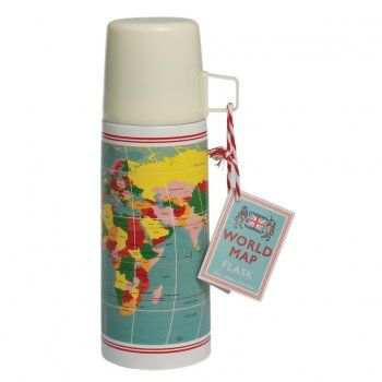 Vintage Style World Map Flask and Cup