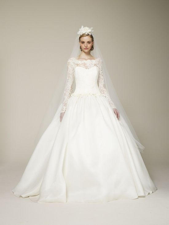 Long Sleeved 1950s inspired wedding dress from Marchesa's 2013 Bridal Collection