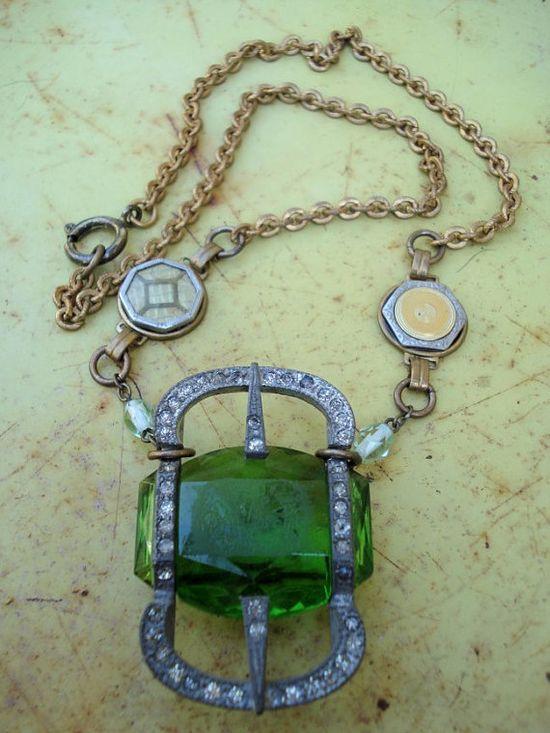 Antique green Deco glass Buckle pendant