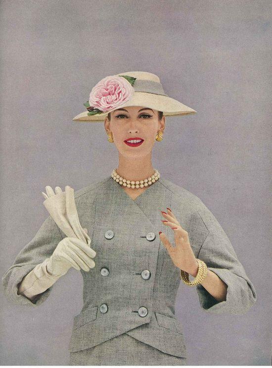 Springtime vintage fashion loveliness (photo by Richard Rutledge). #vintage #1950s #dress #hat