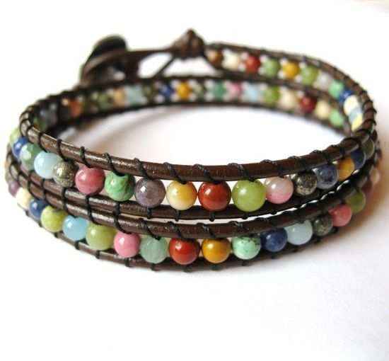 Then And Now - Double Wrap Semi Precious Stones on Leather.  $44.00