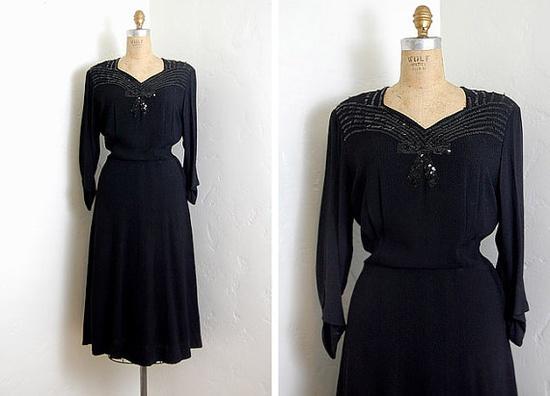 Vintage 1930s 1940s dress / black rayon sequined bow little black dress $98