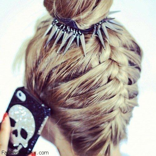 Upside down French braid bun hairstyle