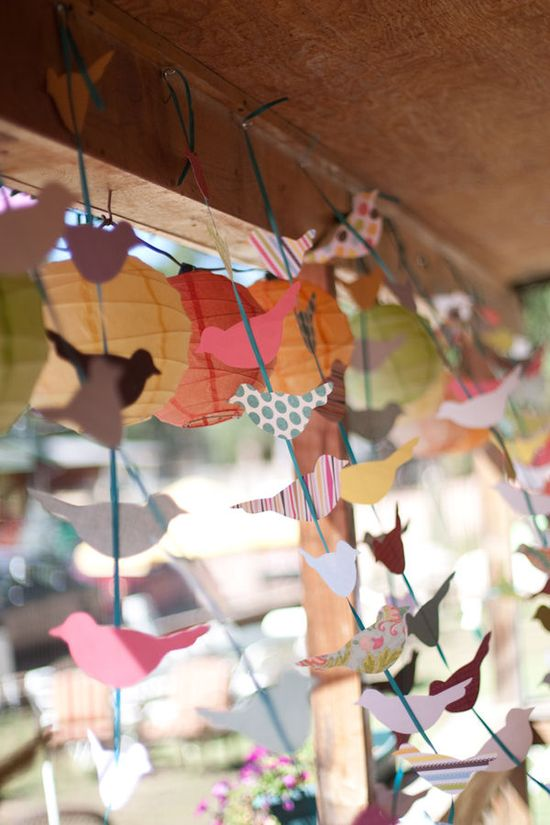 Bird garlands in lots of different paper patterns