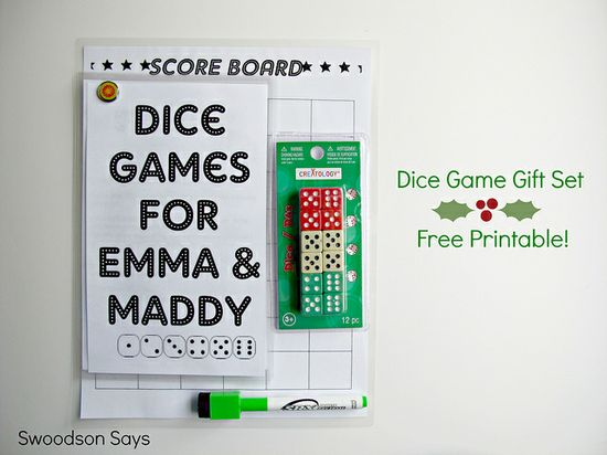 Dice Game DIY Gift with Free Printable