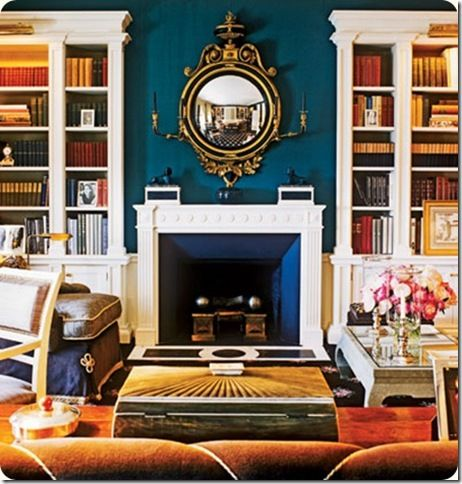 Chalk blue firebox. Designer: Miles Redd. Source: Southern Accents.
