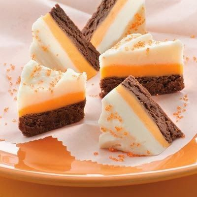 Candy Corn Fudge - Creamy chocolate and vanilla fudge team up with fall colors for a fun delicious treat
