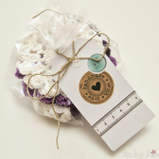 Handmade gift Doily and croasters crochet wrapped as present Jip by Jan #crochet #diy #handmade #present #haken