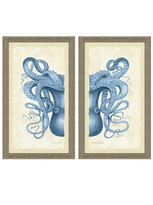 Get Nautical - Gilt Home 329/700 Octopus Diptych:    High quality giclee print on fine art paper  Barn wood molding deckled over a faux linen mat  Color is guaranteed from fading for 100 years  Each print measures 27 inches in width by 16 inches in height  Dust with a dry cloth  Brand: Art Source Ltd    Material: Paper, wood    Origin: United States