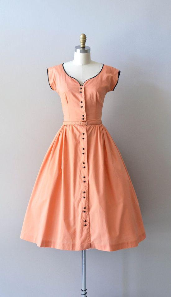 vintage 40s dress / cotton 1940s dress / Persikka by DearGolden, $164.00