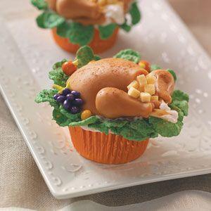 Turkey Dinner Cupcakes Recipe from Taste of Home #Thanksgiving
