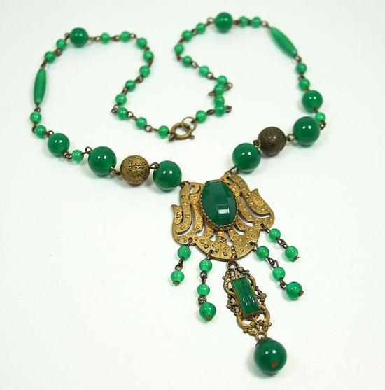 Art Deco Czech Necklace Jade Glass Gilt Antique by zephyrvintage
