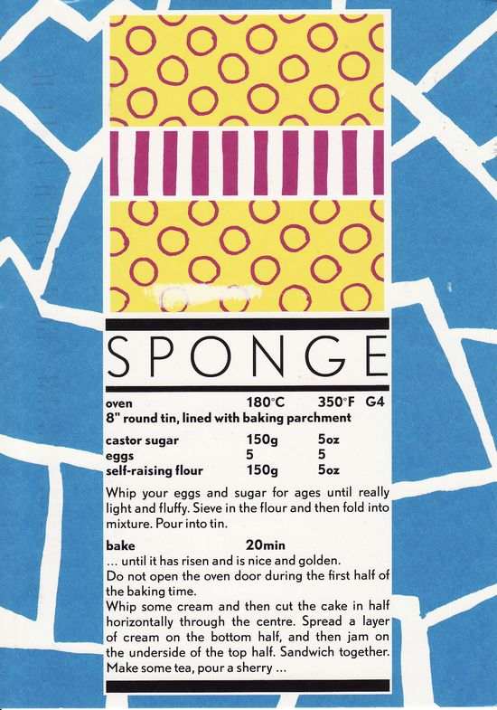 sponge cake recipe postcard