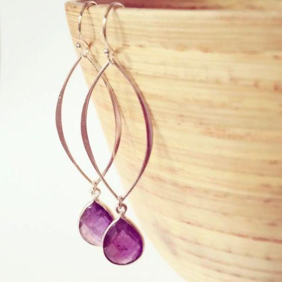 purple amethyst stone earrings, purple wedding jewelry by Aina Kai