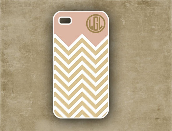 Monogrammed iPhone case -  Soft pink and golden chevron - personalized Iphone 4 case (9875). $16.99, via Etsy.