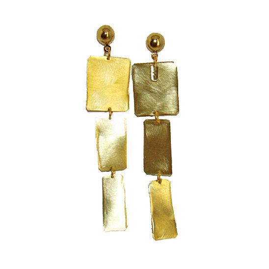 Square dangle Geometric dangle earrings brass gold by arwcreation, $25.00