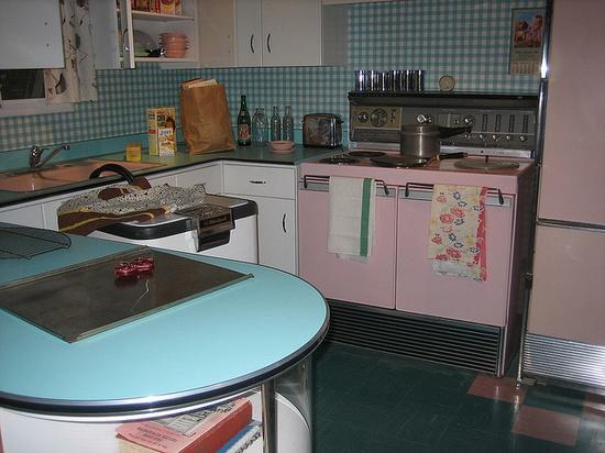 #vintage #kitchen #pink #aqua