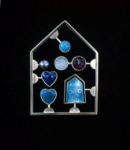 "Jack Cunningham - ""Kit"" series -   Love Kit Blue  Brooch 2002 white metal, enamel, moonstone, turquoise, cultured pearl, amethyst, sodalite"