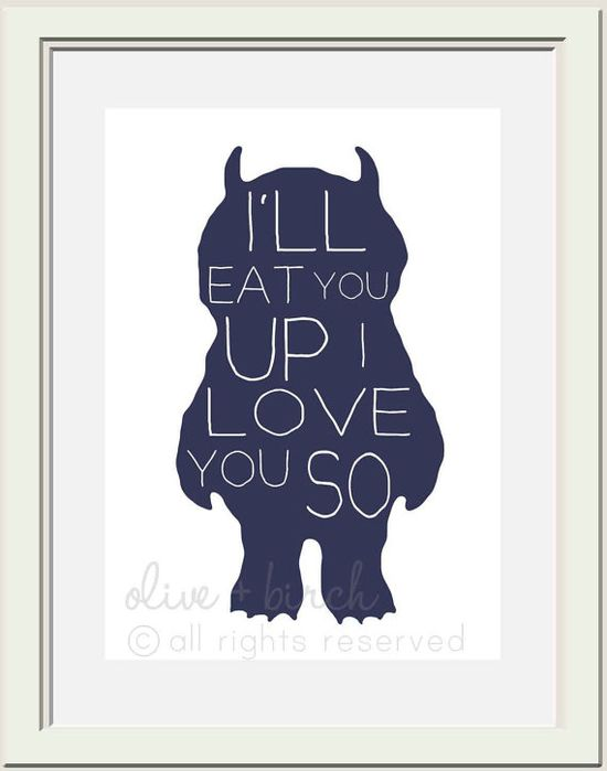 Where the Wild Things Are Nursery Printable, Ill Eat You Up I Love You So