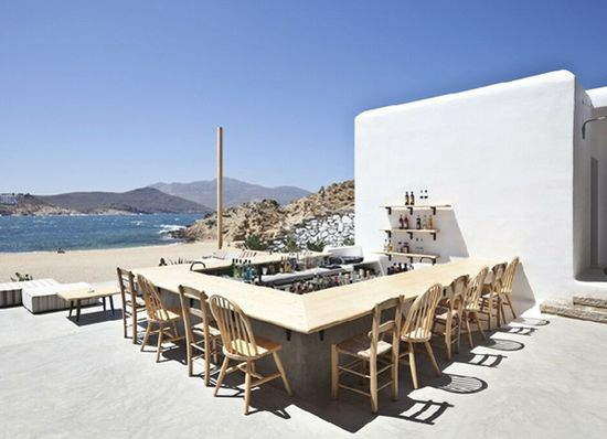 Beach bar Alemagou on Mykonos, Greece