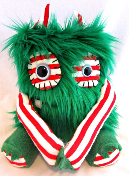Plush Christmas Monster MERRY handmade plushie doll stuffed animal one of a