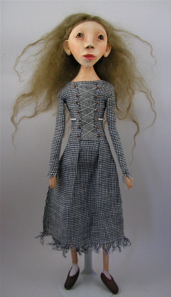 Contemporary Folk Art Doll cloth and clay