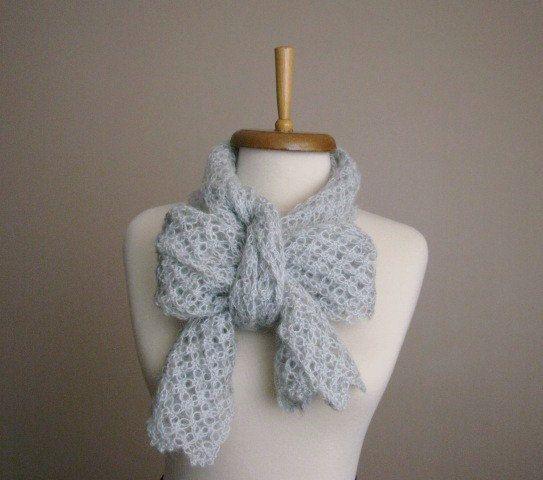 Grey Hand Crocheted Scarf