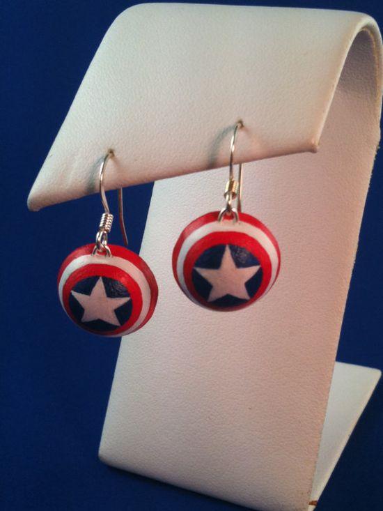 Captain America Shield Earrings. ?   Need.