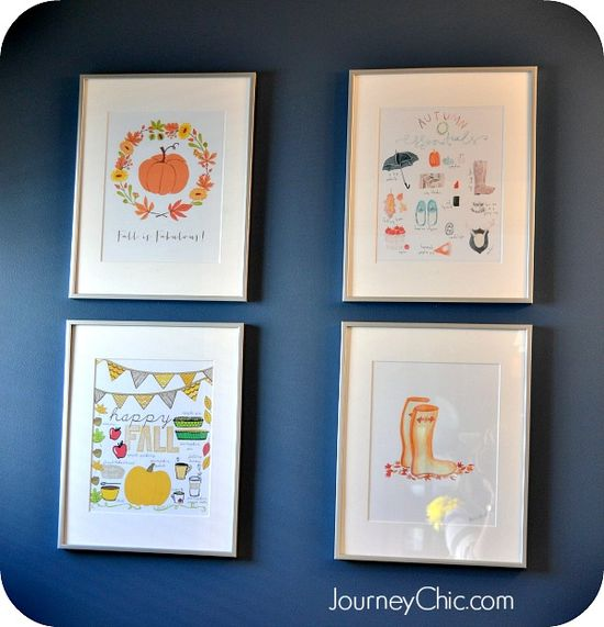 Free fall printable art  sources + fall bathroom decor ideas #falldecor