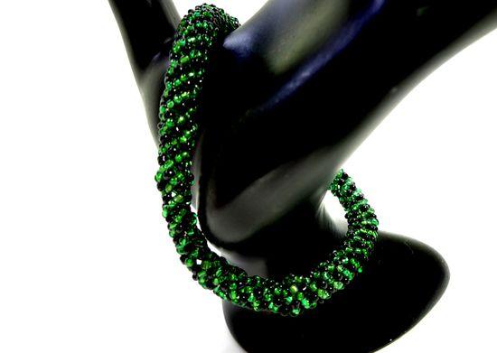 Green and Black Spiral Bangle Bracelet Beadweaving Handmade Jewelry - $20